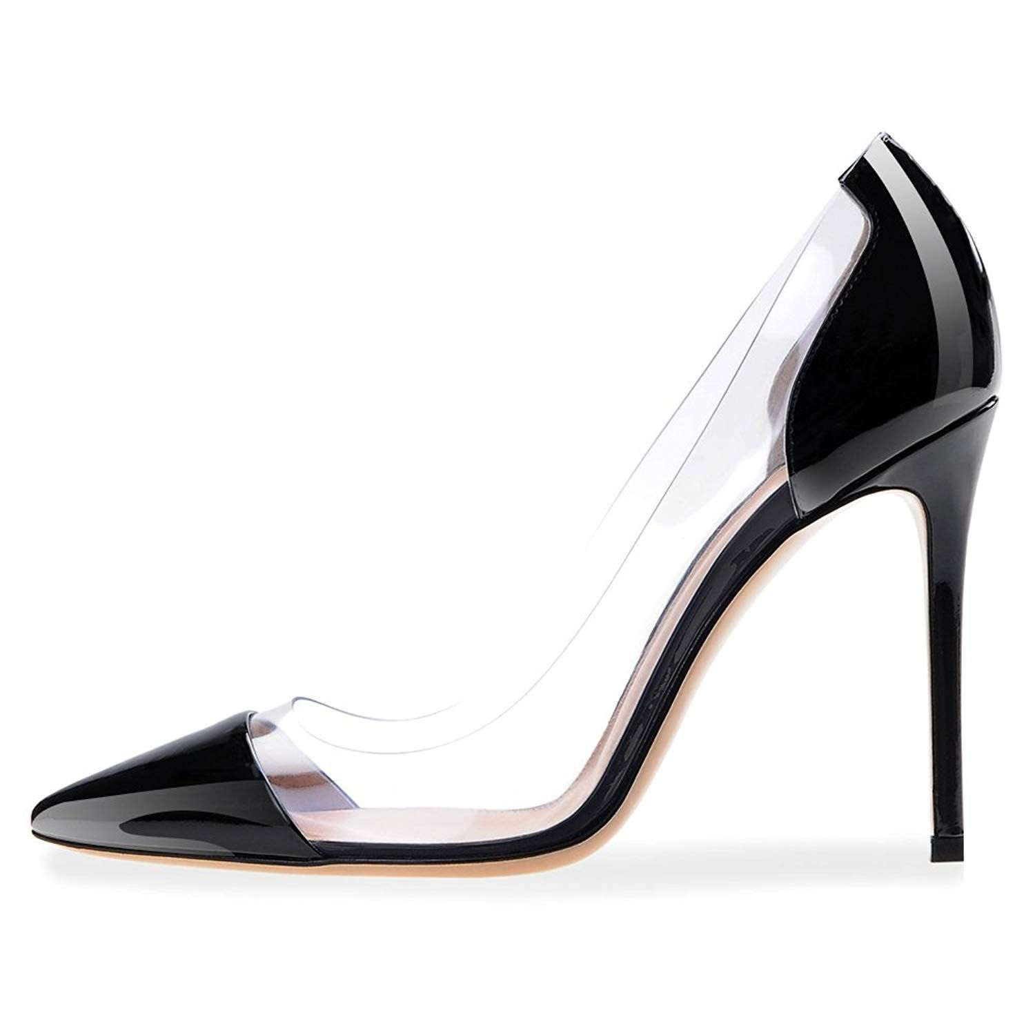 84403e41b0548 Modemoven Women's Pointed Toe Transparent Heels Patent Leather Dress ...