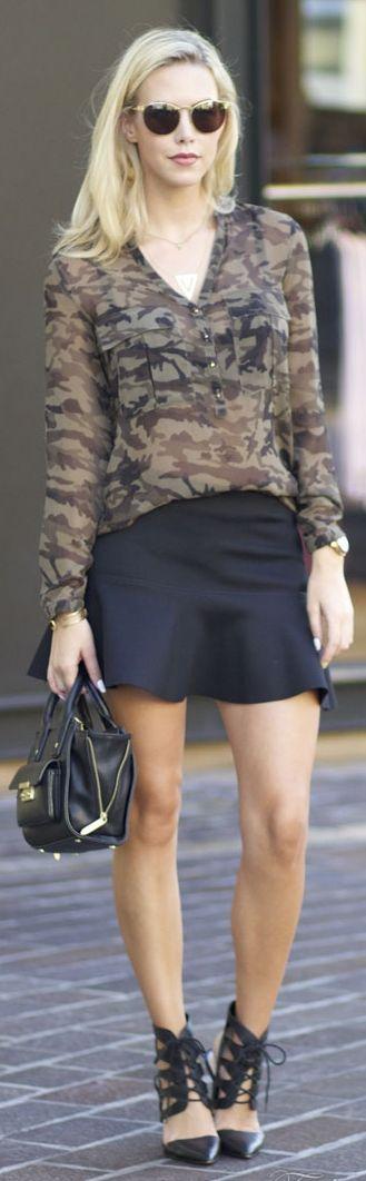 Brown Camo Semi-sheer Popover by Fashion Addict