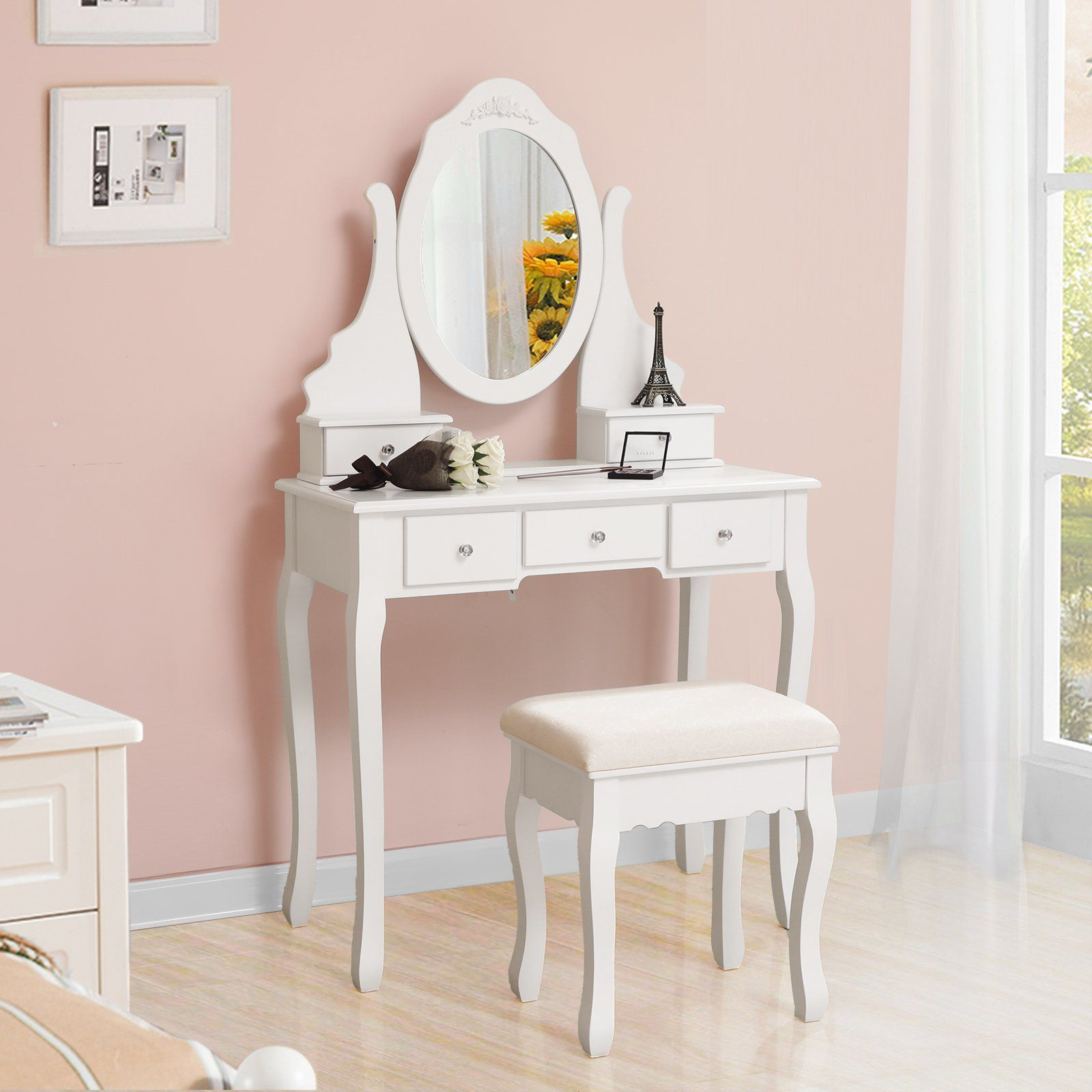 Songmics vanity set with mirror and stool makeup dressing table
