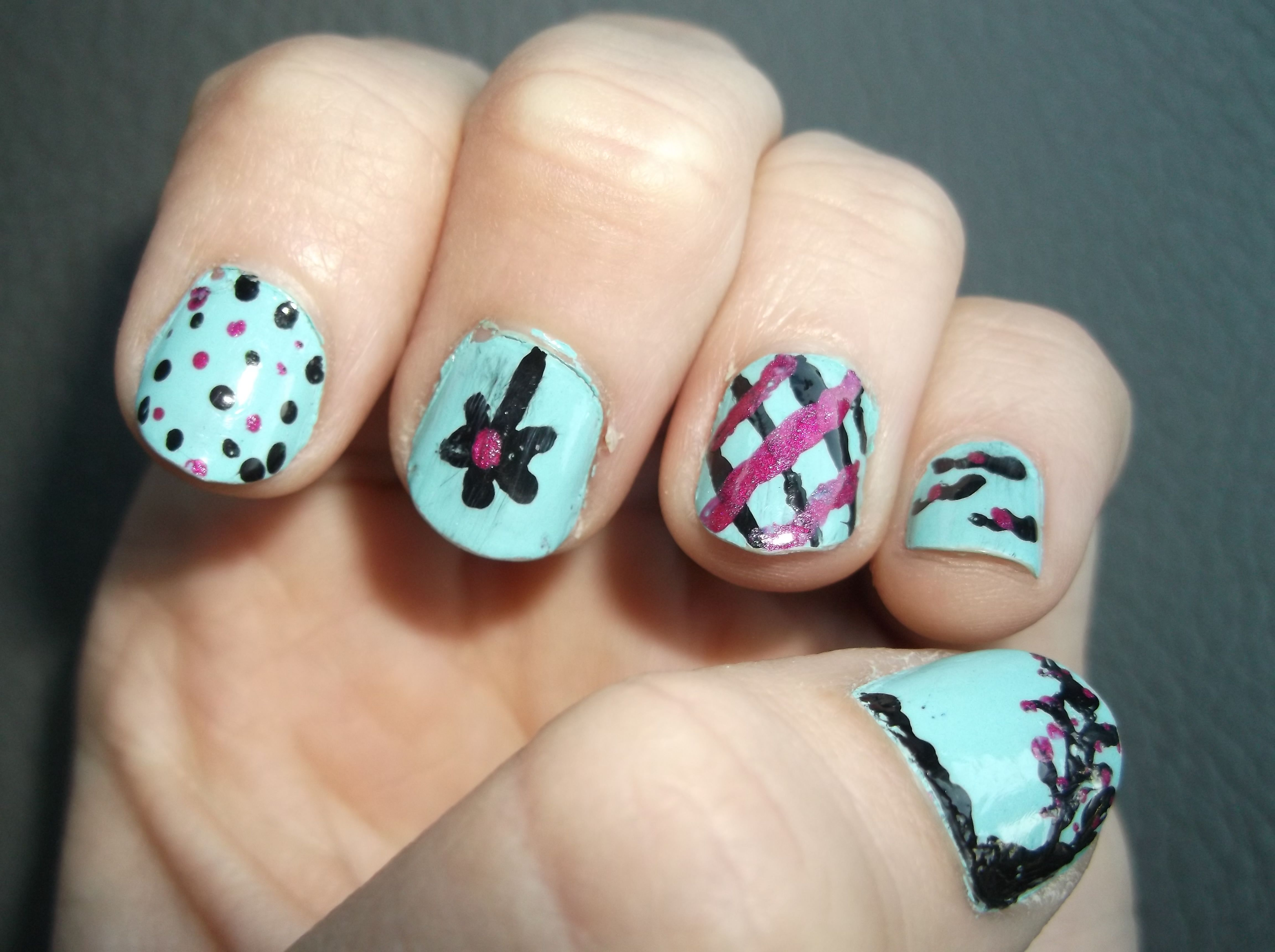 Love These Colors Together Theres A Different Design On Each Nail