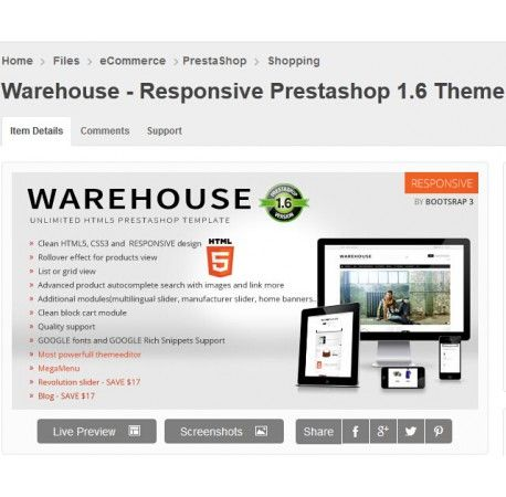 Warehouse - Responsive Prestashop 1.6 Theme + Blog download ...