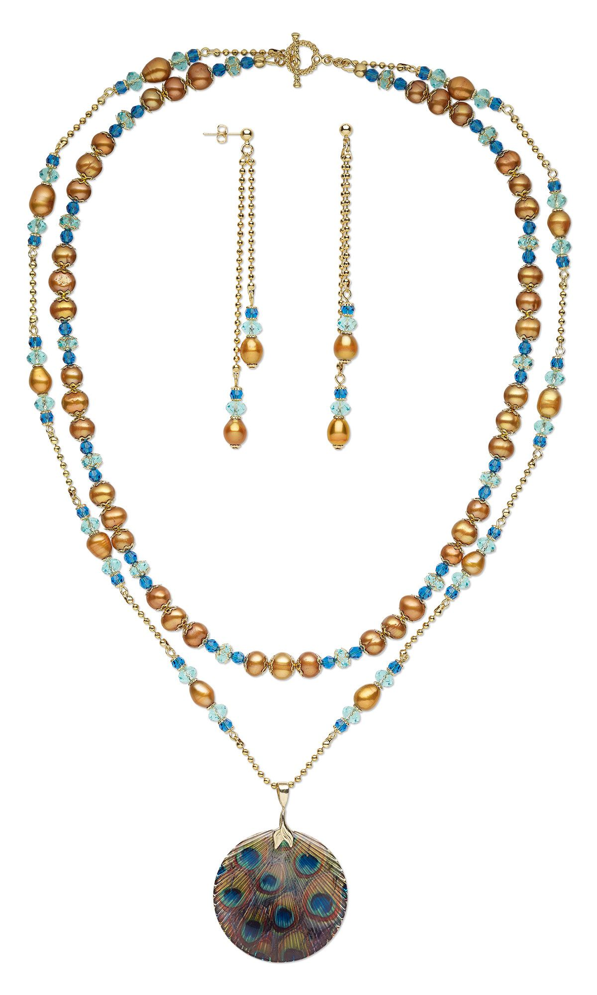 Jewelry design doublestrand necklace and earring set with resin