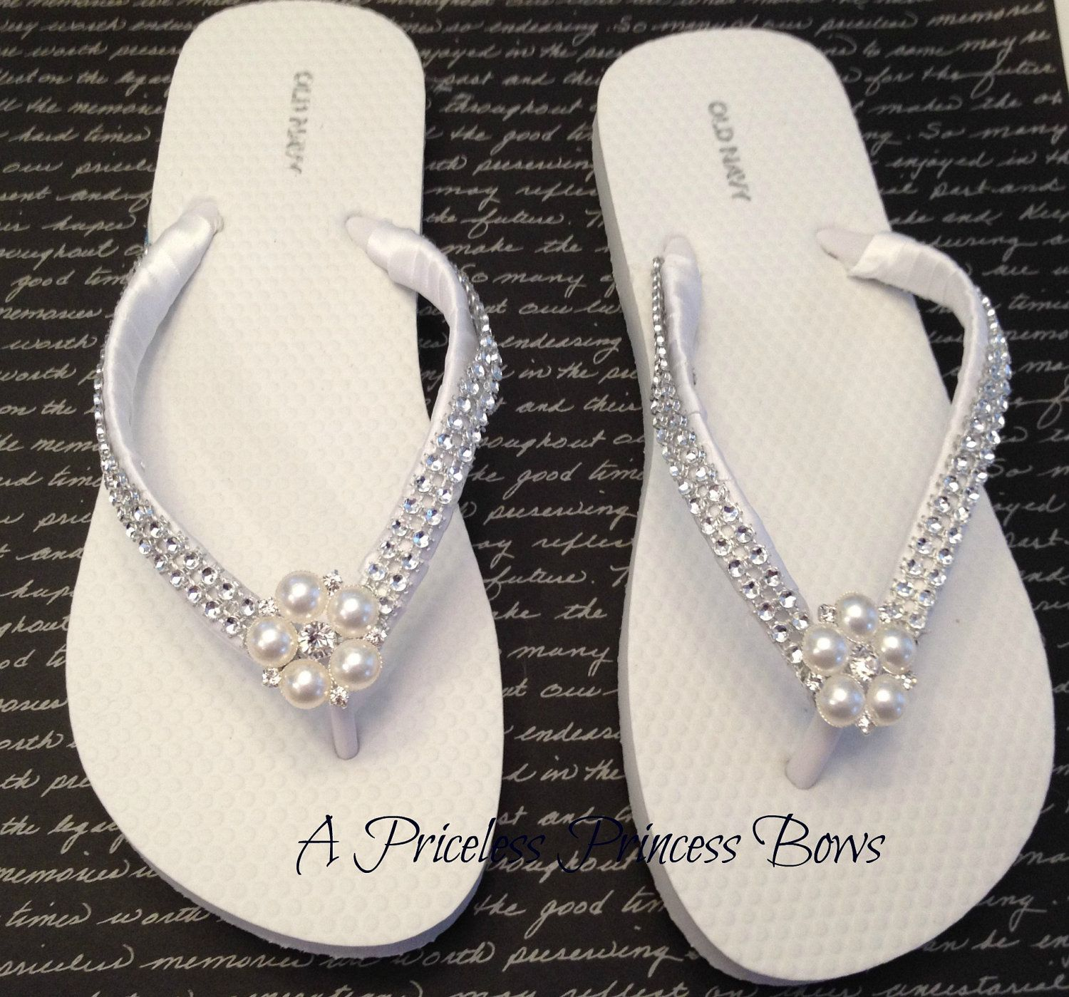 ab5457516 White Satin Wedding Pearl   Bling Flip Flops Womens Bridal Bridesmaid Prom  Beach Rhinestone Crystal Embellishment.  29.95