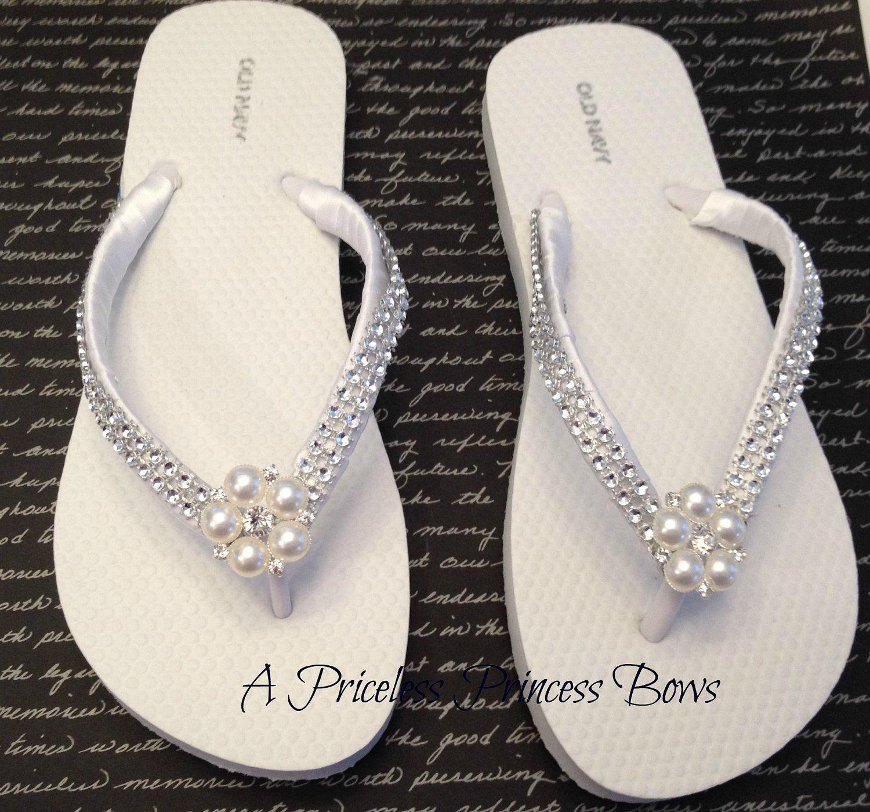 White Satin Wedding Pearl Bling Flip Flops Womens Bridal Bridesmaid Prom Beach Rhinestone Crystal Embellishment