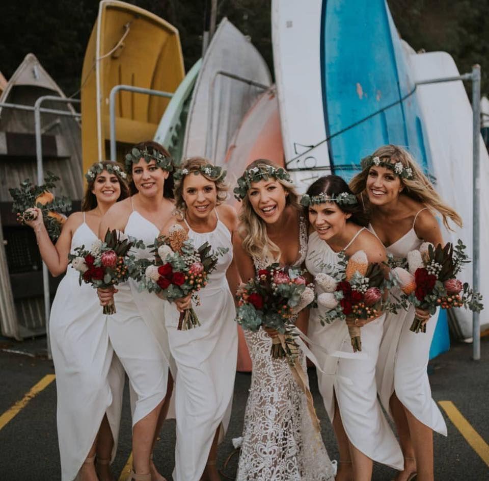 We Love White Bridesmaids Dresses Beach Bridesmaid Dresses Off White Wedding Dresses White Wedding Theme [ 943 x 960 Pixel ]