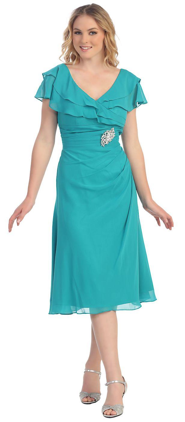 V Neckline Tea Length Sage Green Semi Formal Dress Short Sleeves ...