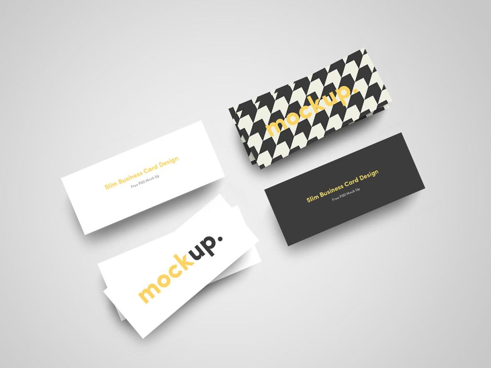 Slim Business Card Mockup Psd Free Download Mockups Pinterest