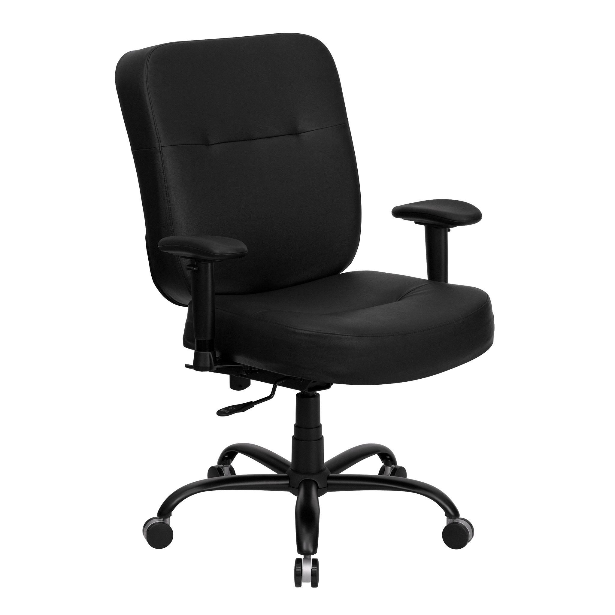 Capacity Big And Tall Black Leather Office Chair With Arms And Extra