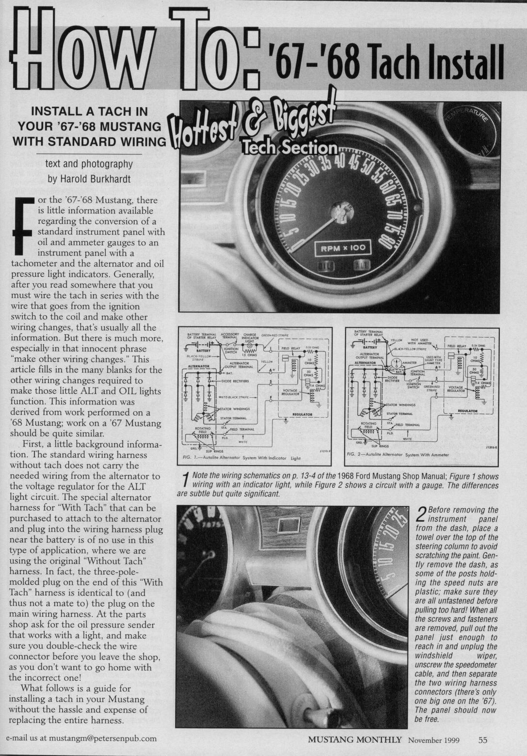 How To 1967 1968 Mustang Tach Install November 1999 Mustang Monthly Ford Mustang Forum 1968 Mustang Mustang 1967 Mustang