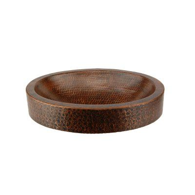 Premier Copper Products VO17SKDB Compact Oval Skirted Vessel Hammered Copper Sink - VO17SKDB
