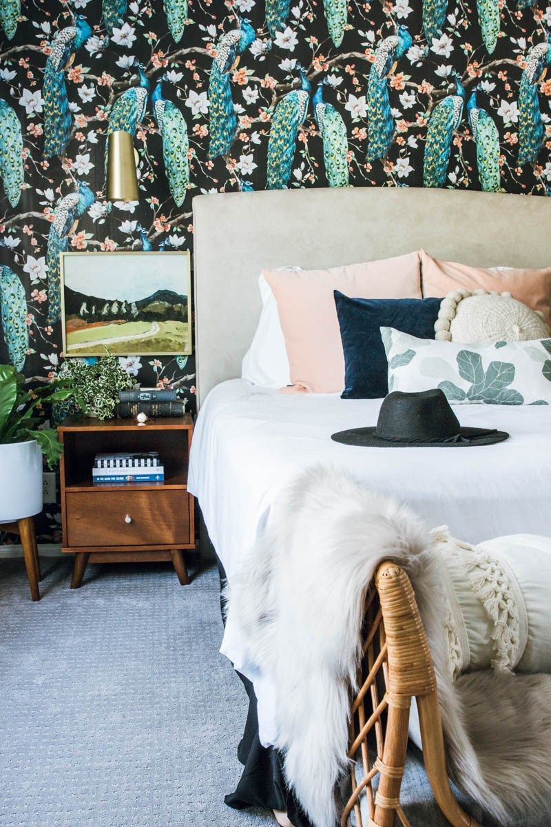 bold master bedroom with bright wallpaper this master bedroom rh pinterest co uk