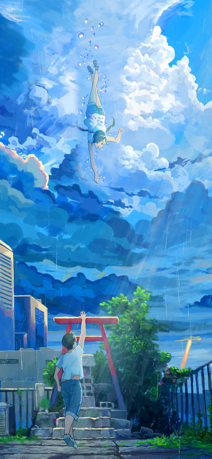 Weathering With You Hina Amano Hodaka Morishima Mobile Wallpaper In 2020 Anime Wallpaper Anime Wallpaper Iphone Anime Scenery Wallpaper