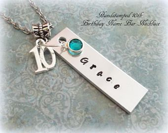 10th Birthday Gift For Her Girl Turning 10 Happy Year Old Handstamped Name Bar Necklace Daughter