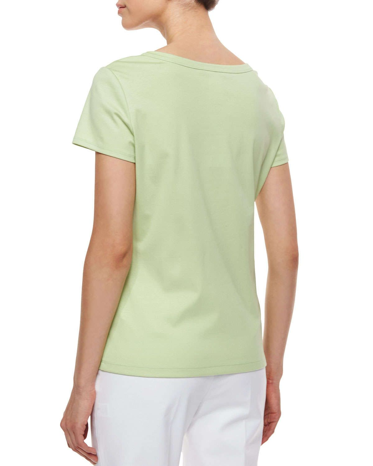 Cotton-Stretch Basic Tee, Mint