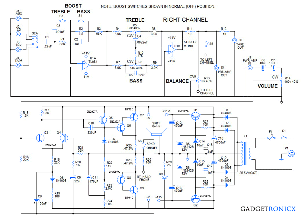 DIY 30 Watt Stereo Amplifier Circuit | Stereo amplifier, Circuits ...