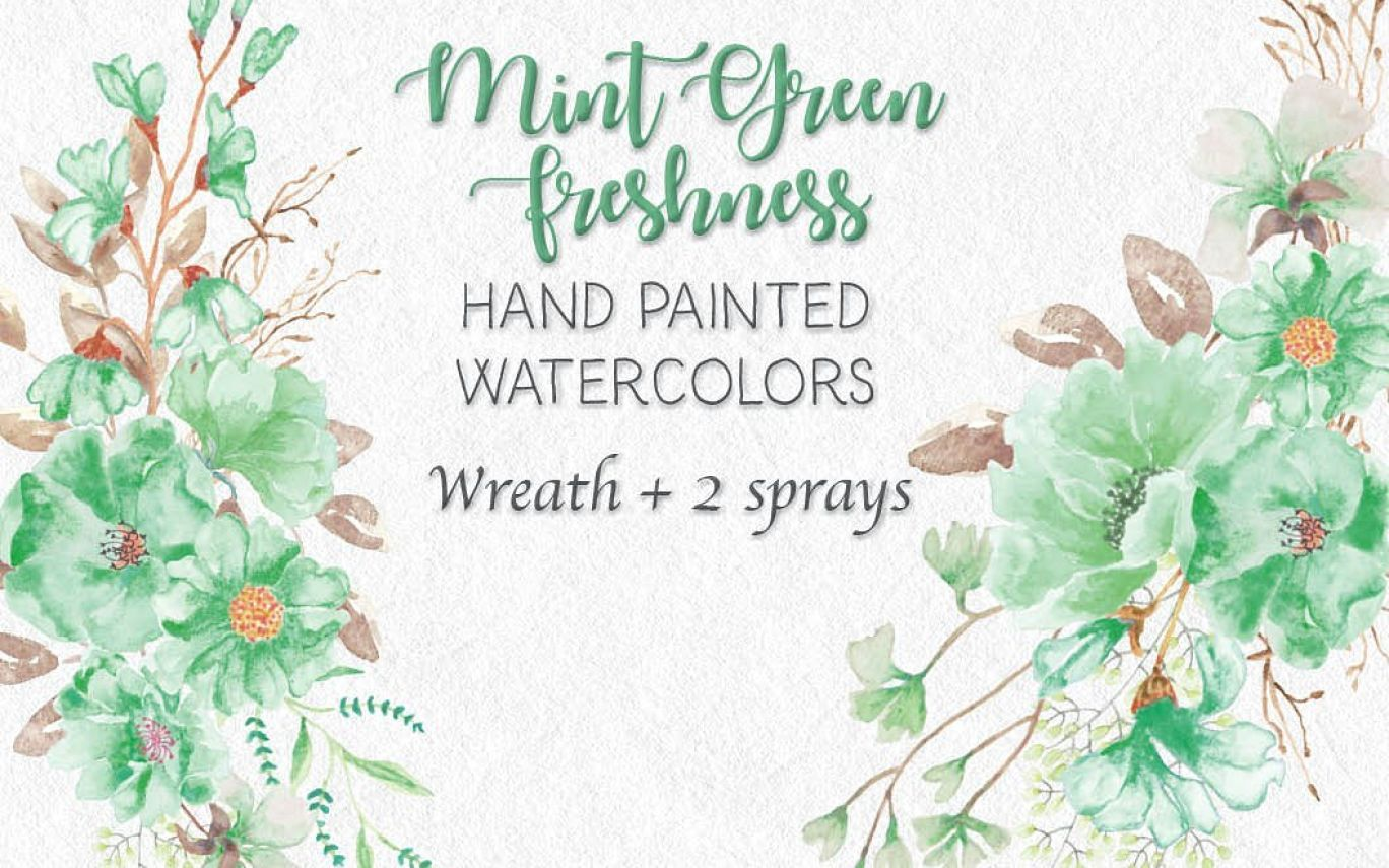 Watercolor Wreath In Mint Green Illustrations Creative In Mint