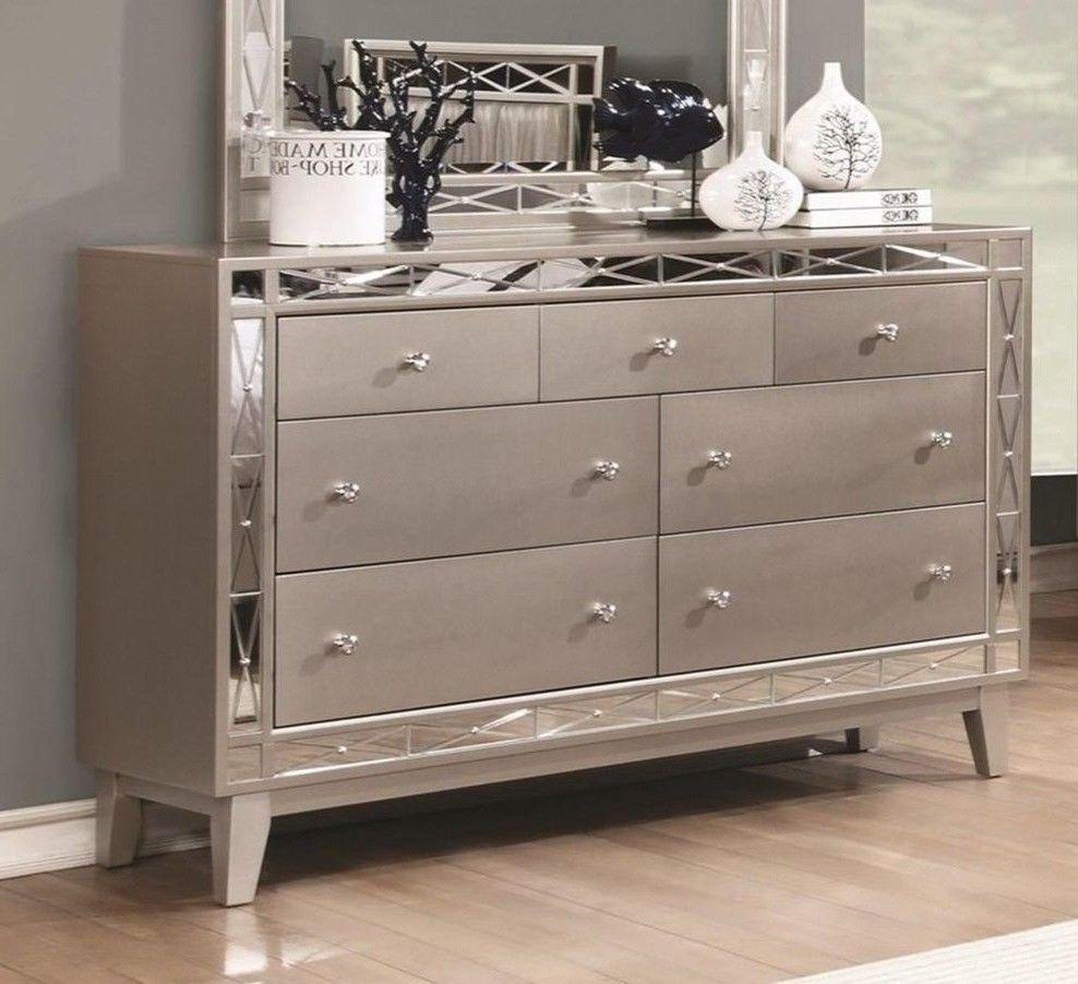 7 Drawer Metallic Dresser With Mirror Accent Bedroom Silver Wood Storage Chest Unbranded Modern