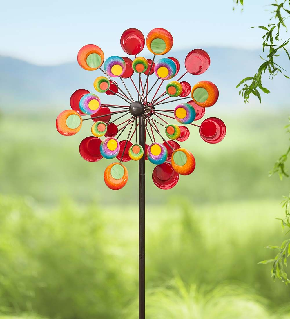 Our Cosmic Wind Spinner Brings Spectacular Style To Your Universe. This  Eye Catching Garden Accent Features Colorful Metal Discs With Glass Centers  For A ...