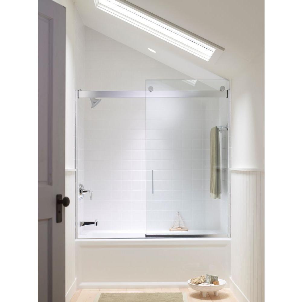 Kohler Levity 59 58 In X 59 34 In Semi Frameless Sliding Bathtub