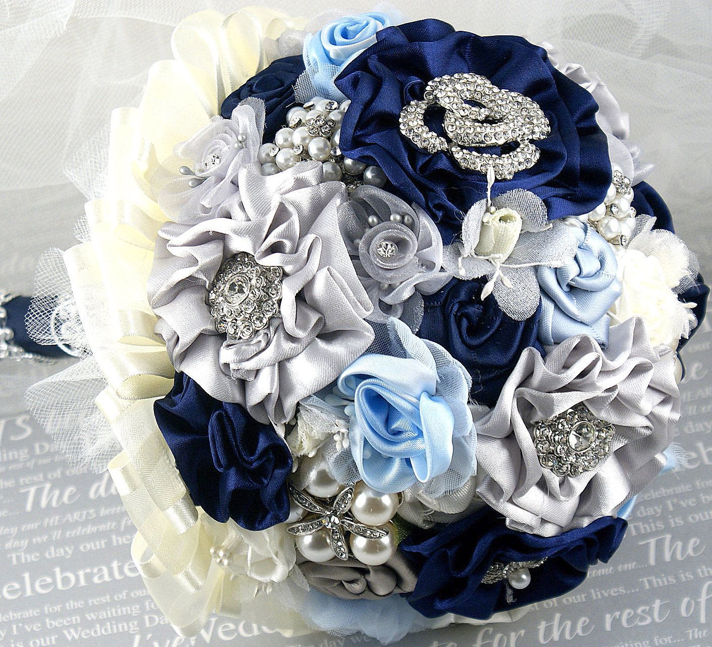Brooch bouquet wedding navy blue ivory silver