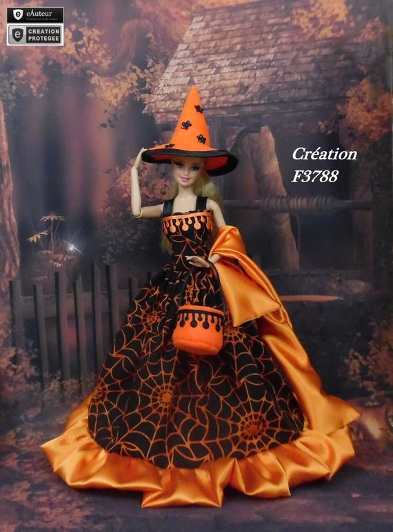 robe barbie halloween n 14 v tement sorci re d 39 halloween pour poup e barbie silkstone fashion. Black Bedroom Furniture Sets. Home Design Ideas