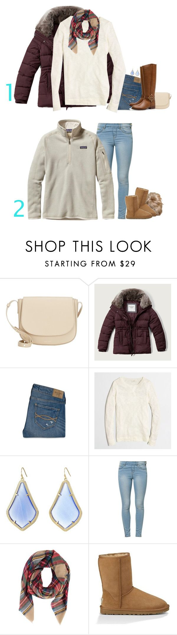 """""""Winter: Are you one or two?"""" by meljordrum ❤ liked on Polyvore featuring Mansur Gavriel, Abercrombie & Fitch, Tory Burch, J.Crew, Kendra Scott, Jane Norman, UGG Australia, Patagonia, women's clothing and women's fashion"""