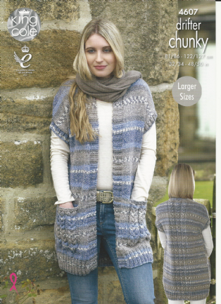 d01fac353 King Cole Ladies Waistcoats Knitting Pattern in Drifter Chunky (4607 ...