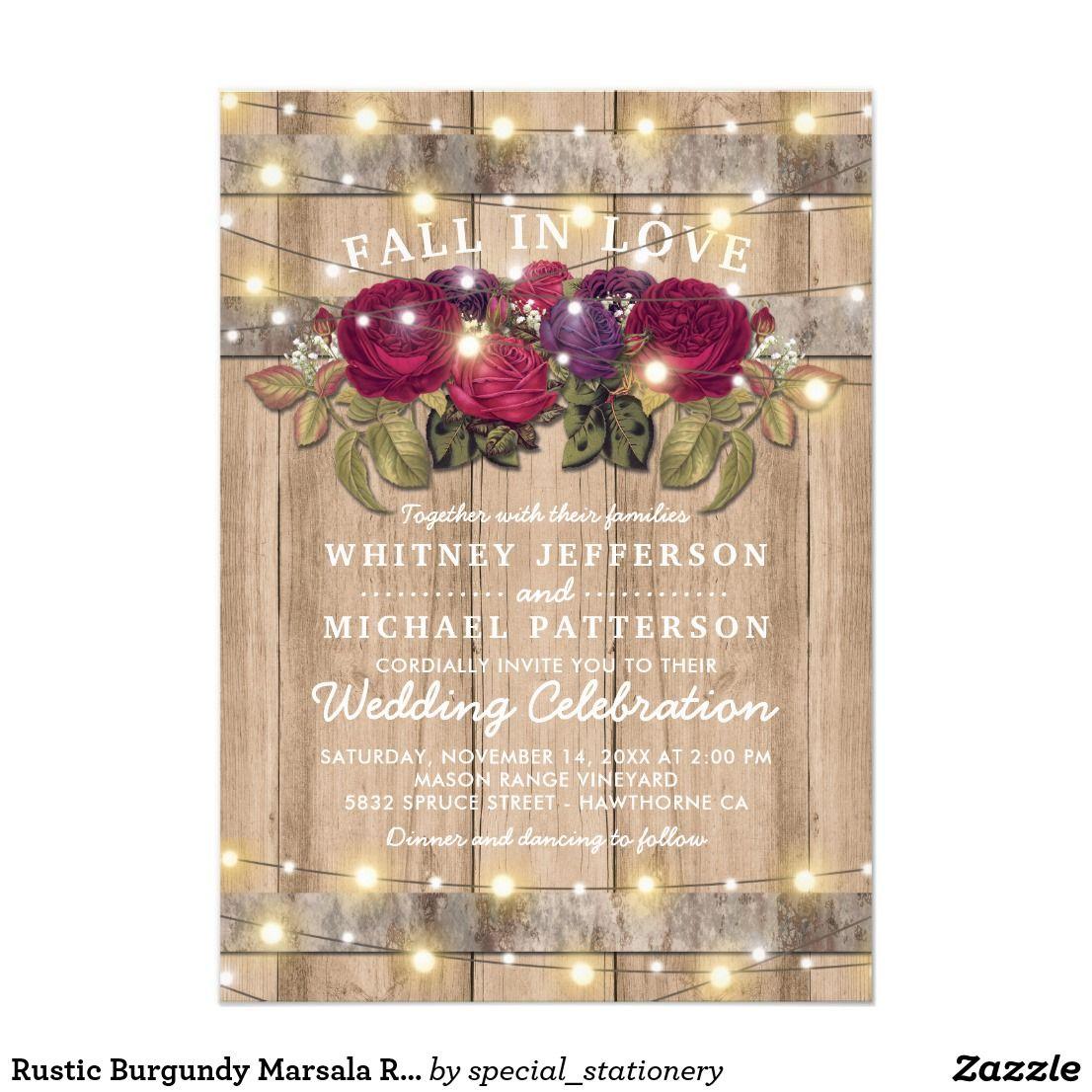 Rustic Burgundy Marsala Red Floral Fall Wedding Card Wedding