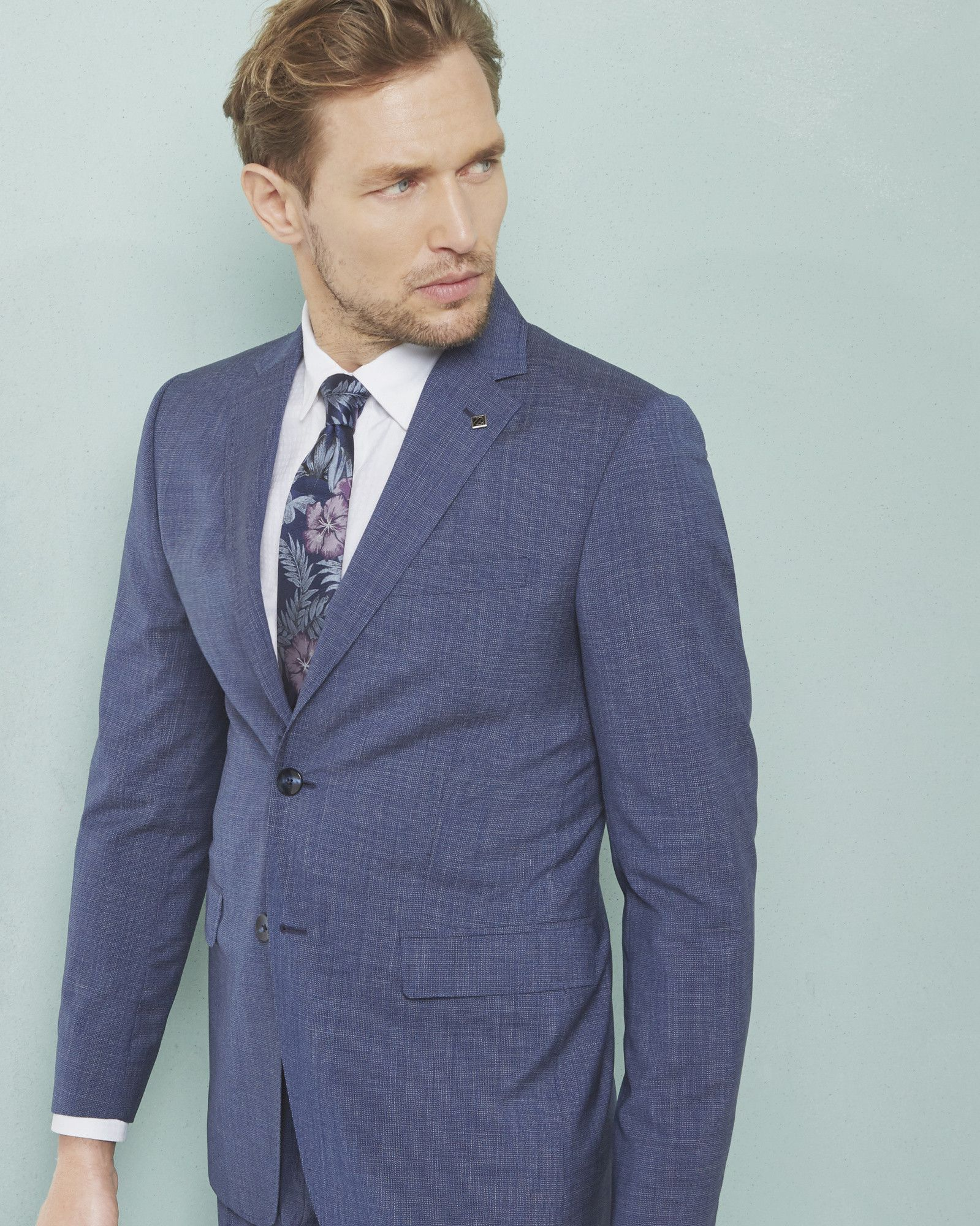 Debonair modern fit wool jacket - Bright Blue | Suits | Ted Baker ...