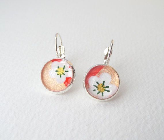 Floral silver earrings  White Peach & Orange  by NoDittoDesign
