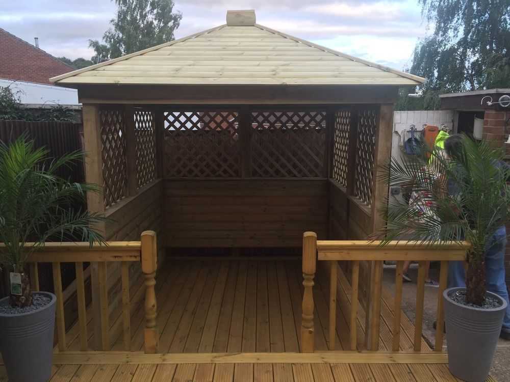 gazebo hot tub shelter wooden seating area garden bar wood