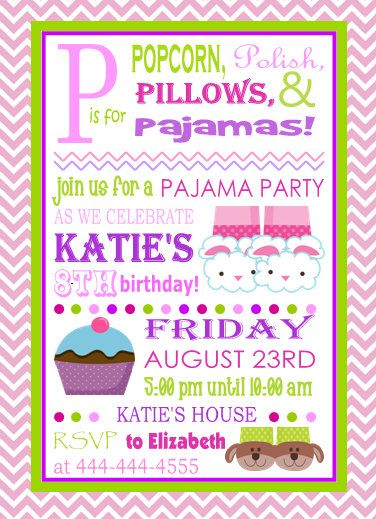 Slumber Party Invitation by MySeasonDesigns on Etsy PJ Birthday