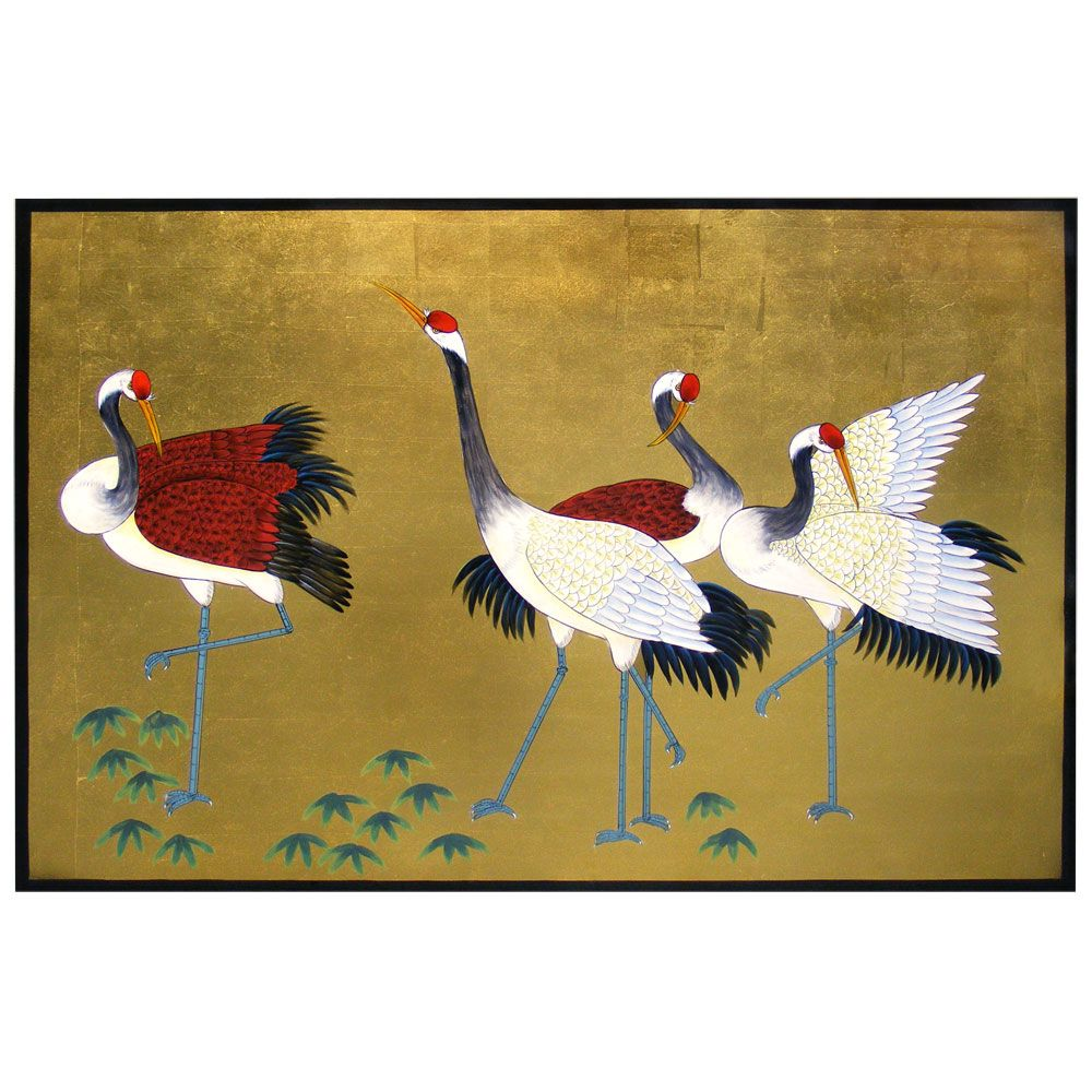 Hand Painted Cranes Wall Plaque | Asian wall decor, Chinese painting ...