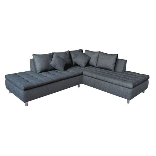 Stratos 4 Seater Left Hand Quilted Corner Fabric Sofa - Silver ...