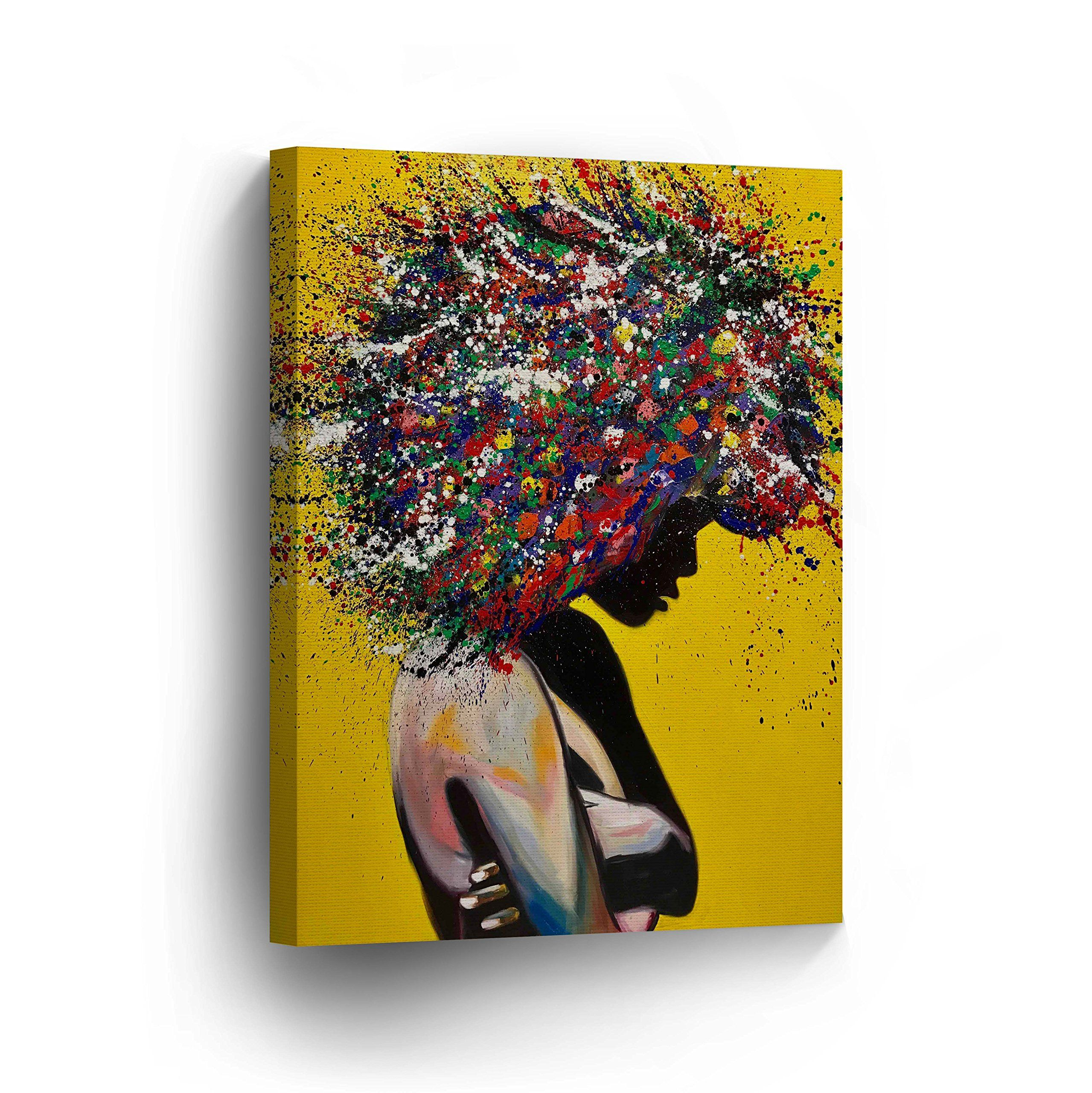 African American Wall Art Afro Hair Woman Splash Style Canvas Print Yellow Decor Oil Painthome D Black Art Painting Canvas Art Prints African American Wall Art