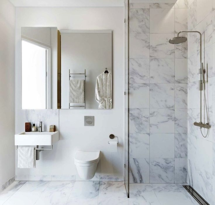 Luxurious Wet Room Style Bathroom Design With Marble Tiled Floors