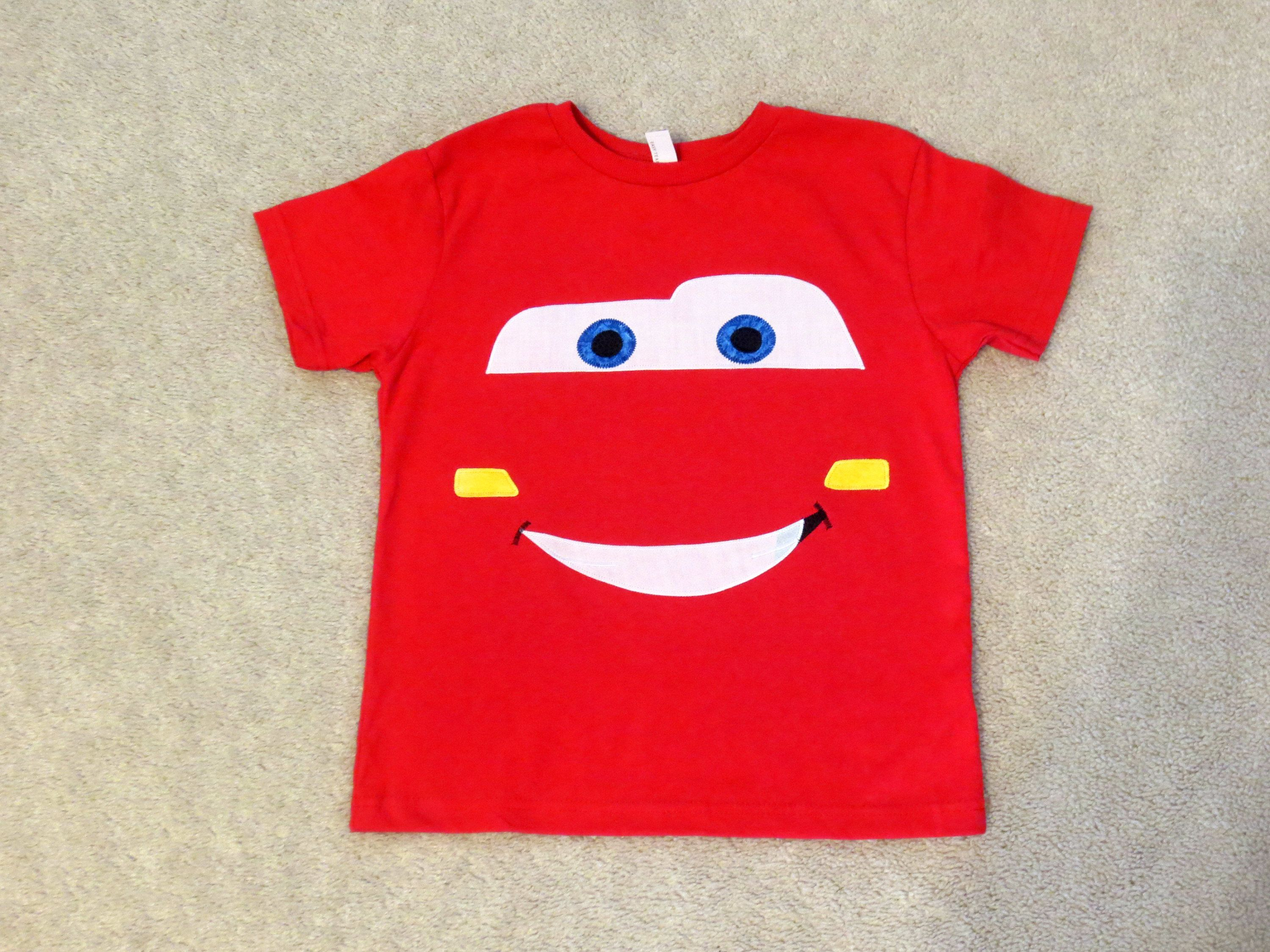 17a34e12 CARS LiGHTNiNG MCQueeN Face Custom Boutique T SHIRT Tee Racing by  EnchantedStitches528 on Etsy