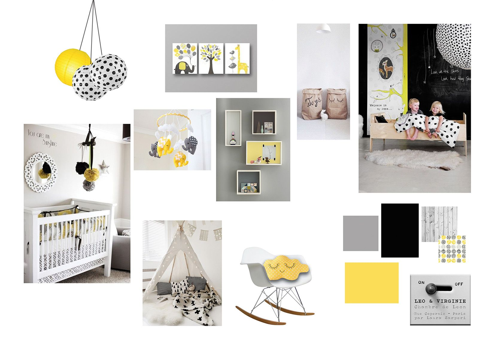 planche d 39 ambiance chambre d 39 enfant jaune noir gris blanc. Black Bedroom Furniture Sets. Home Design Ideas