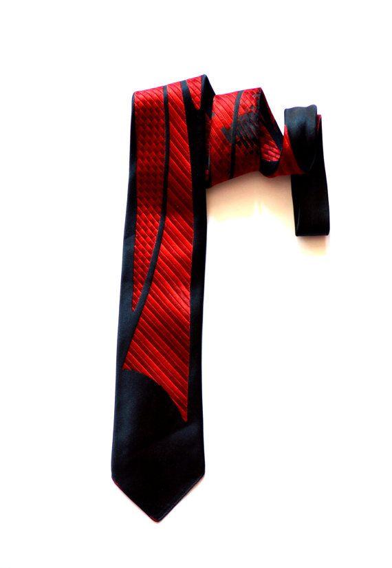 Vintage Red Blue Striped Necktie / Vintage by ZenVintageCollection