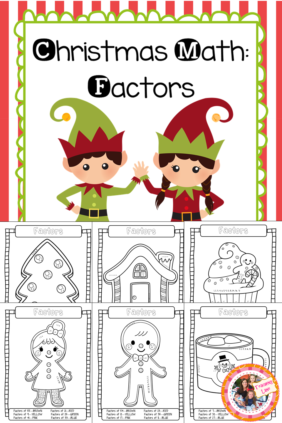 Christmas Math: Coloring Sheets to practice factoring. | December ...