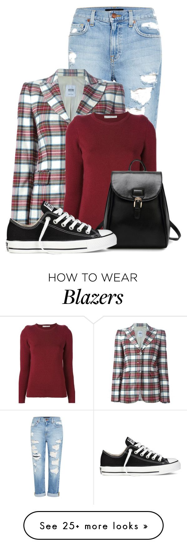 """""""Untitled #11130"""" by nanette-253 on Polyvore featuring Genetic Denim, Moschino, Golden Goose and Converse"""