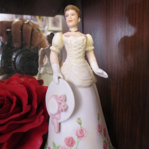 Ceramic monthly lady bell figurines $15 ea