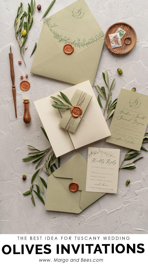 Tusany Wedding Invitations  Real Olive Tree Branch Invites Perfect for Italy Destination Wedding