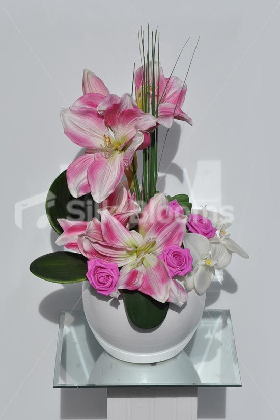 Pink Streaked Amaryllis, Rose  & Orchid Floral Arrangement  #home #decor #flowers #silk #silkblooms