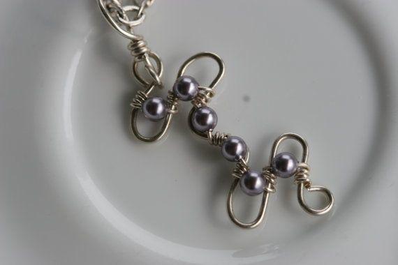 Silver wire pendant Swarovski pearl pendant  by JessicaLuuJewelry, $22.00