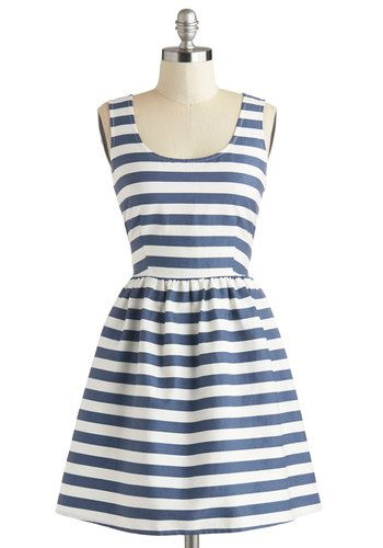 A Lakeshore Bet Dress - Blue, White, Stripes, Cutout, Casual, Nautical, A-line, Sleeveless, Summer, Scoop