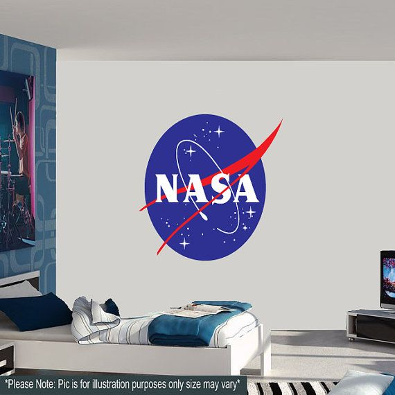 Large nasa logo wall decal astronaut spaceship space for Astronaut wall mural