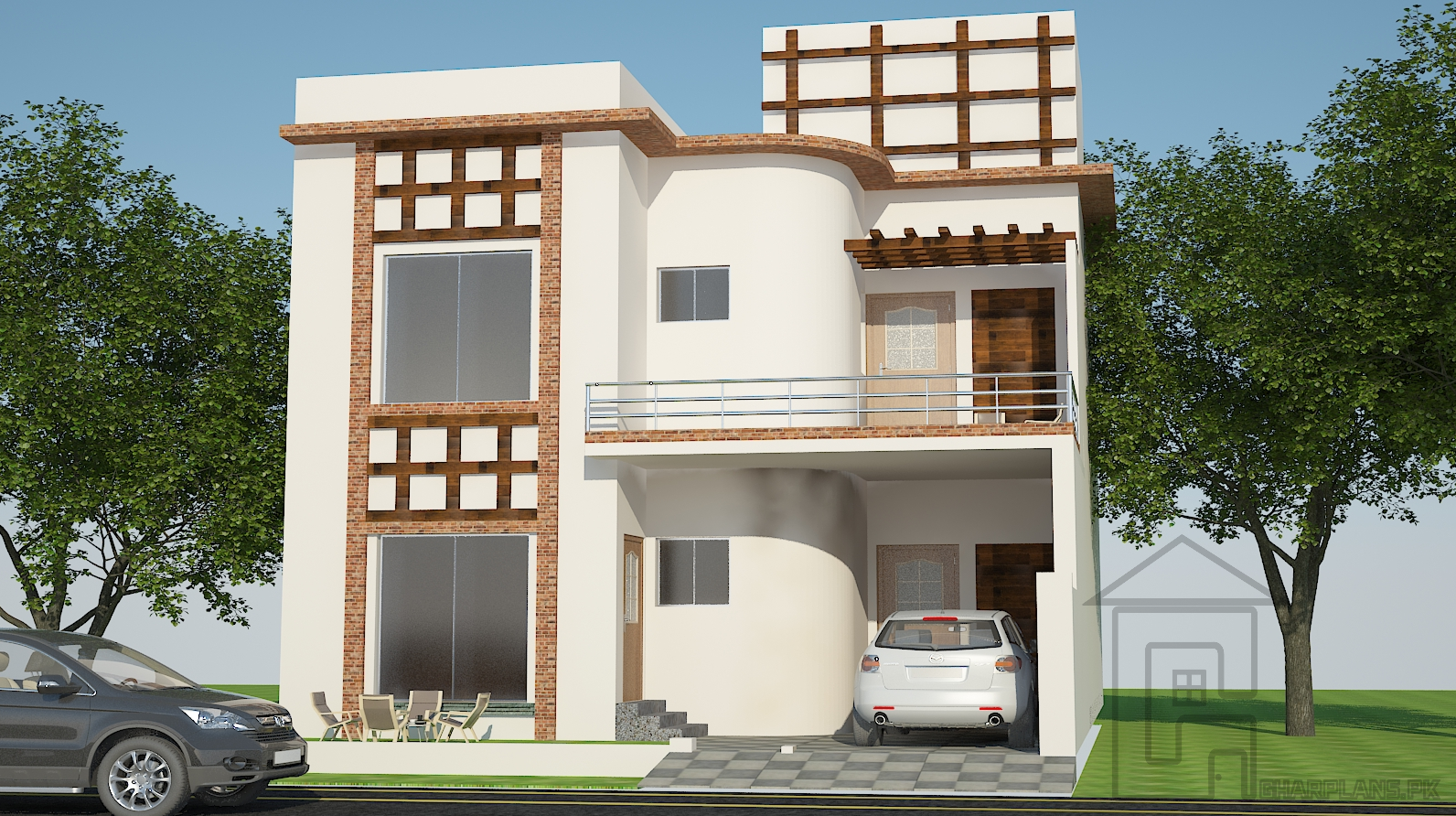 House naksha design has elevation designed in beige and off white tones to provide a visual serenity the house naksha has 5 bedrooms in total with attached