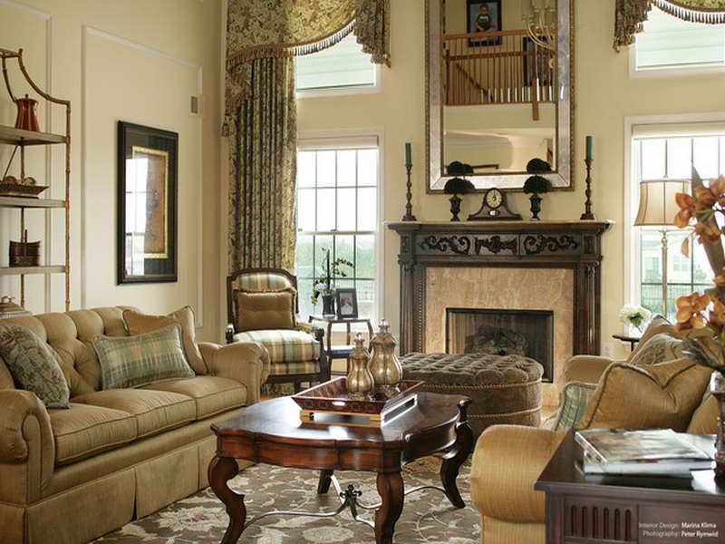 Decorating Designs For Living Rooms Gorgeous The Two Story Curtains With Flat Valances Traditional Living Room Inspiration Design