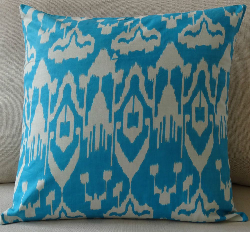 AQUA BLUE AND WHITE IKAT CUSHION COVER 45 X 45CM - THROW/COUCH/SCATTER